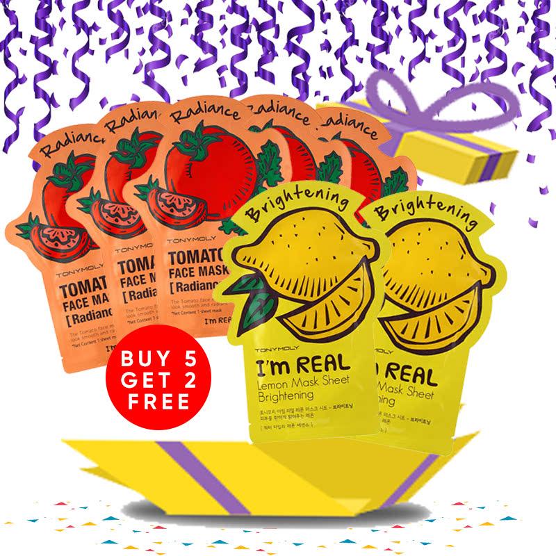 Tony Moly Bundle 5pcs I Am Real Tomato Mask Sheet Skin Glow + 2pcs I Am Lemon Mask Sheet Brightening