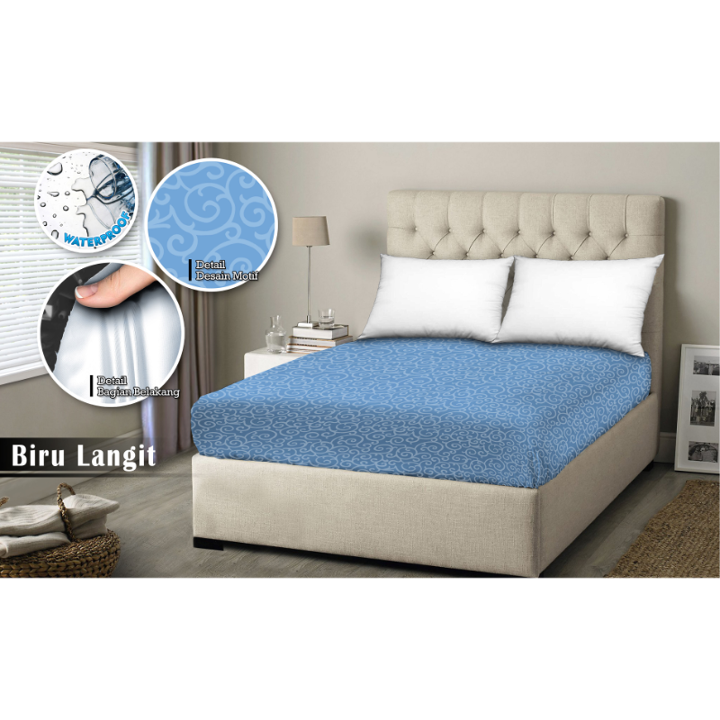 Monalisa Sprei Waterproof Motif T 20 - 200 x 200 Biru Langit