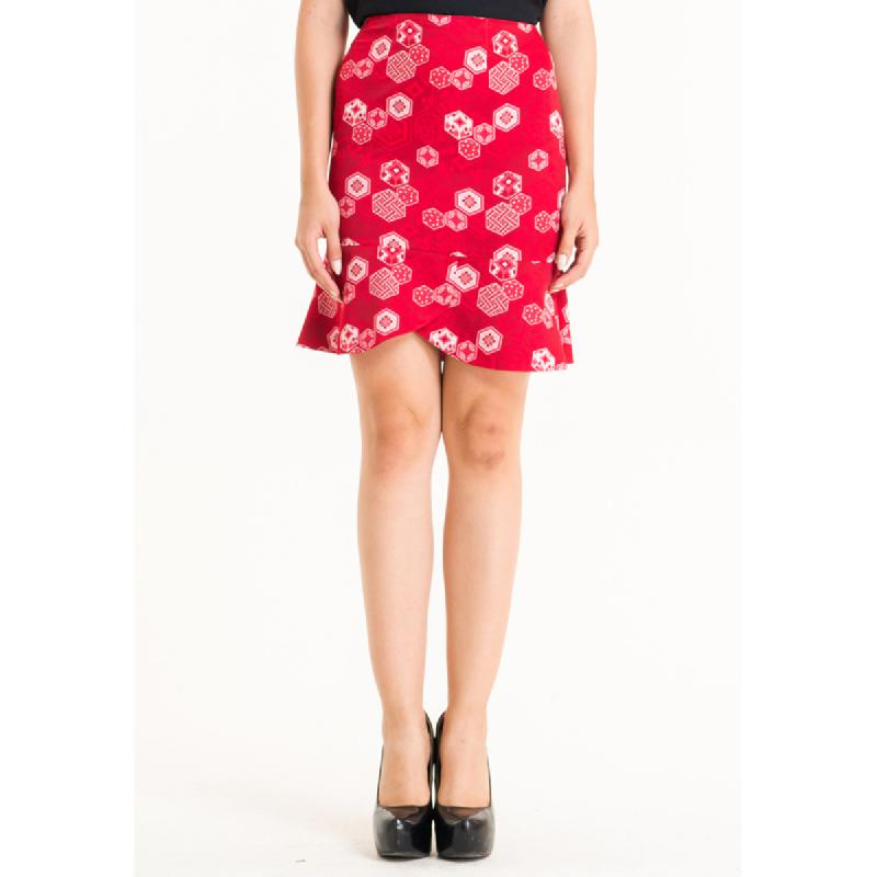 Bateeq Women Regular Cotton Print Skirt FL001E-SS18 Red