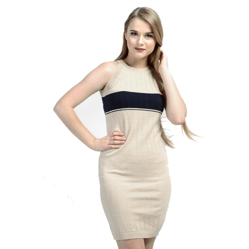Beige Stretch Midi Dress