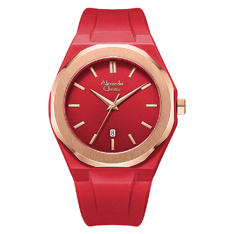 Alexandre Christie AC 8613 MD RRGRE Men Red Dial Red Rubber Strap