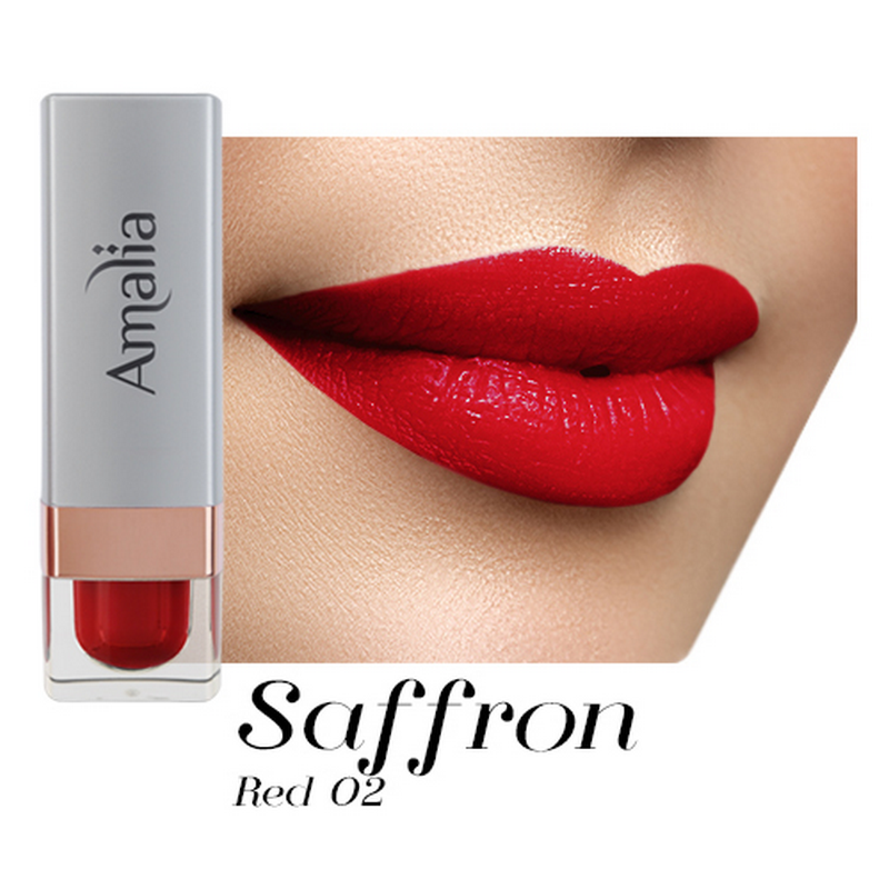 Amalia Satin Lipstick Saffron Red 02