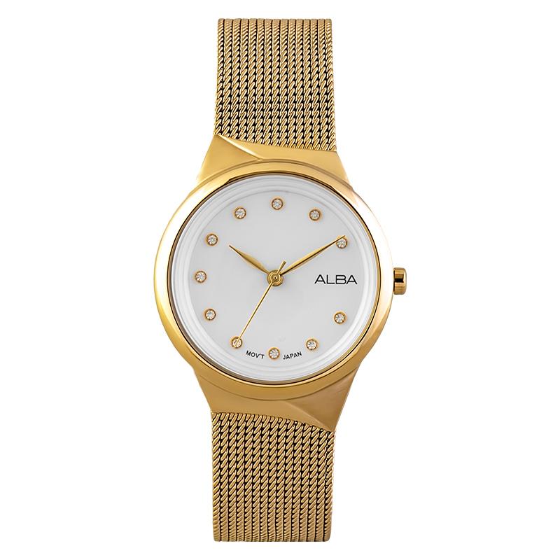 Alba AH8616X1 Ladies White Dial Gold Stainless Steel Strap