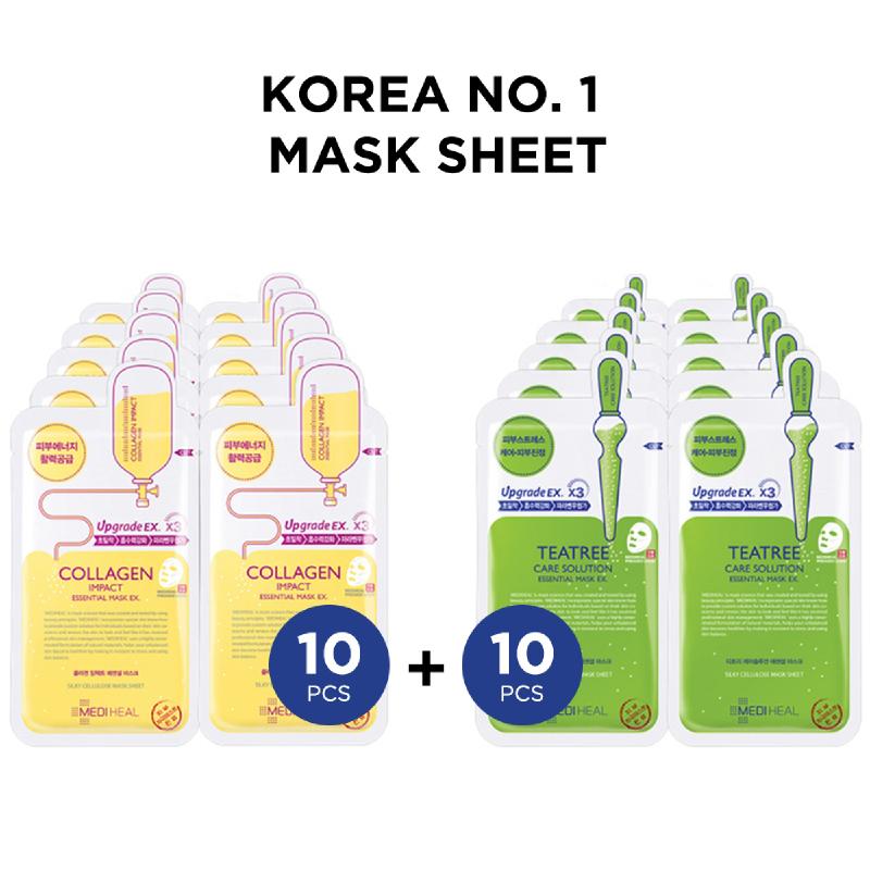 Mediheal Collagen Impact Essential Mask Ex + Teatree Care Solution Essential Mask Ex (10+10)