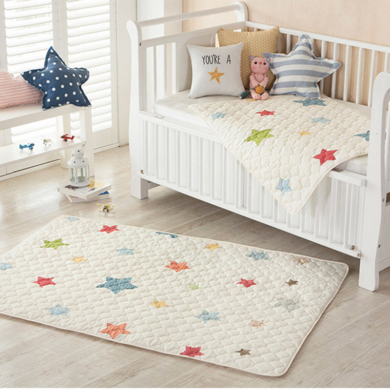 All-Cotton Quilt Waterproof Pad (big size) - Line Star Ivory
