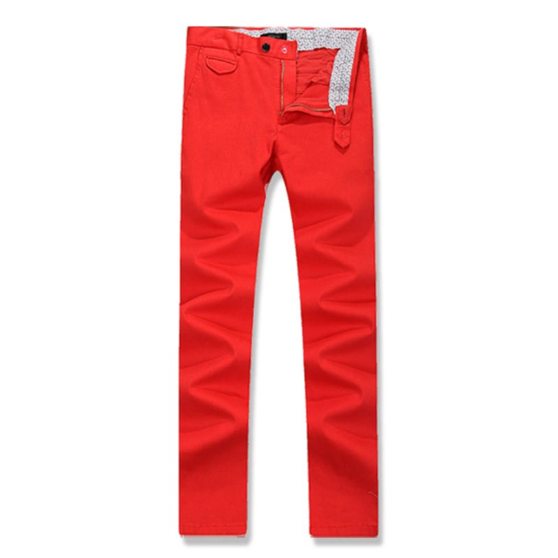 Out Pocket Cotton Span Pants - Red