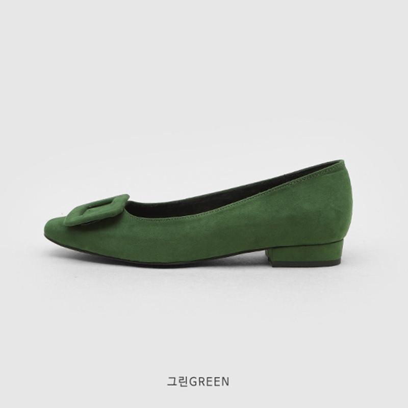 SAPPUN Adeline Fleece Inside Flats (2cm) - Green