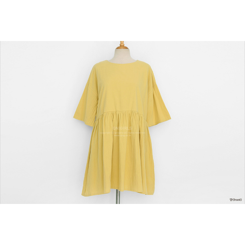 Qnigirls Baby Doll Dress - Mustard