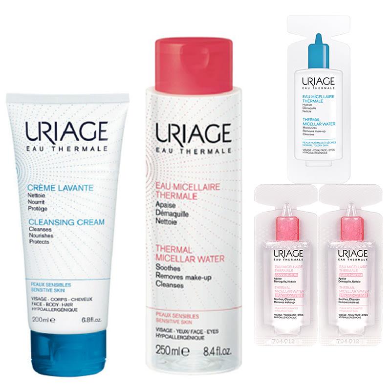 Uriage Sensitive Skin Starter Set (Crème Lavante + Micellar Pink 250ml + Vial Micellar (3x))