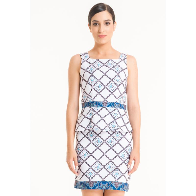 Bateeq Women Sleeveless Cotton Print Drees FL005B-SS18 Cream