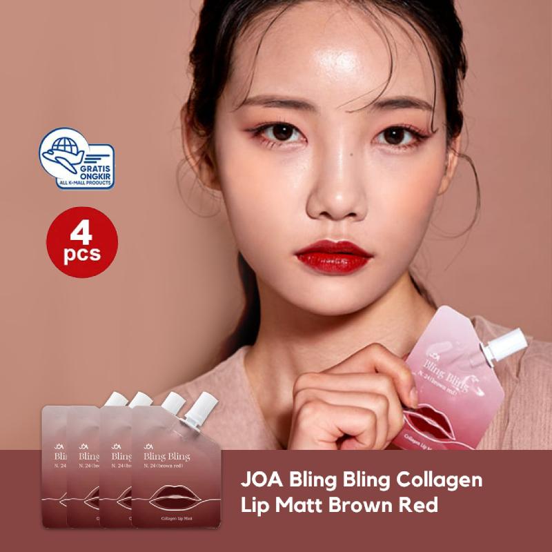 JOA Bling Bling Collagen Lip Matt - Brown Red 4 Pcs
