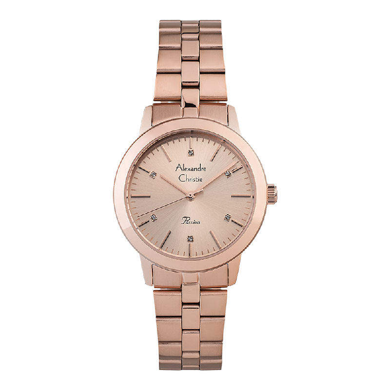 Alexandre Christie Passion AC 2897 LHBRGLNLadies Rose Gold Dial Rose Gold Stainless Steel Strap