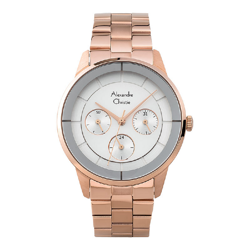 Alexandre Christie AC 2714 BF BRGSL Ladies Silver Dial Rose Gold Stainless Steel
