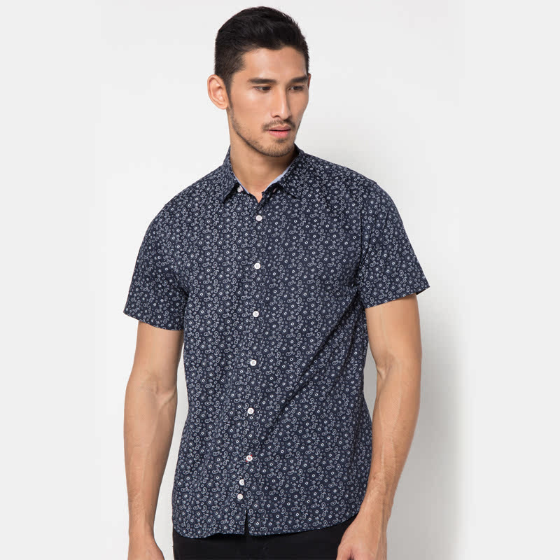 Minarno Navy Printed 007 S-S Shirt
