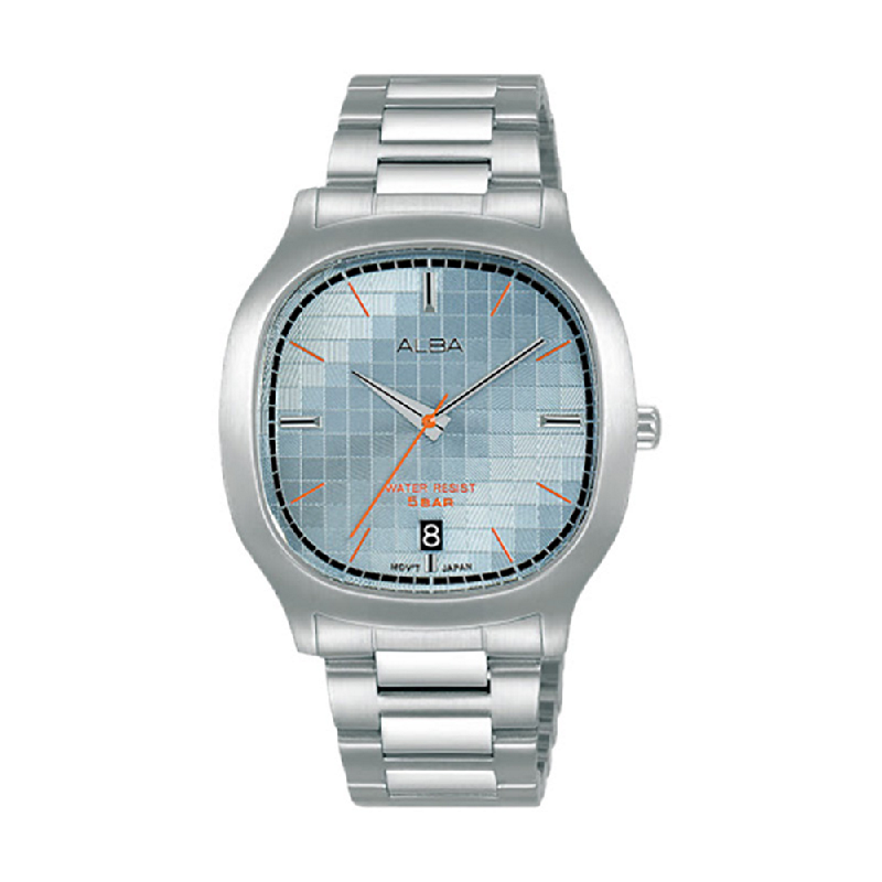 Alba Fusion AS9L77X1 Light Blue Pattern Dial Stainless Steel Strap