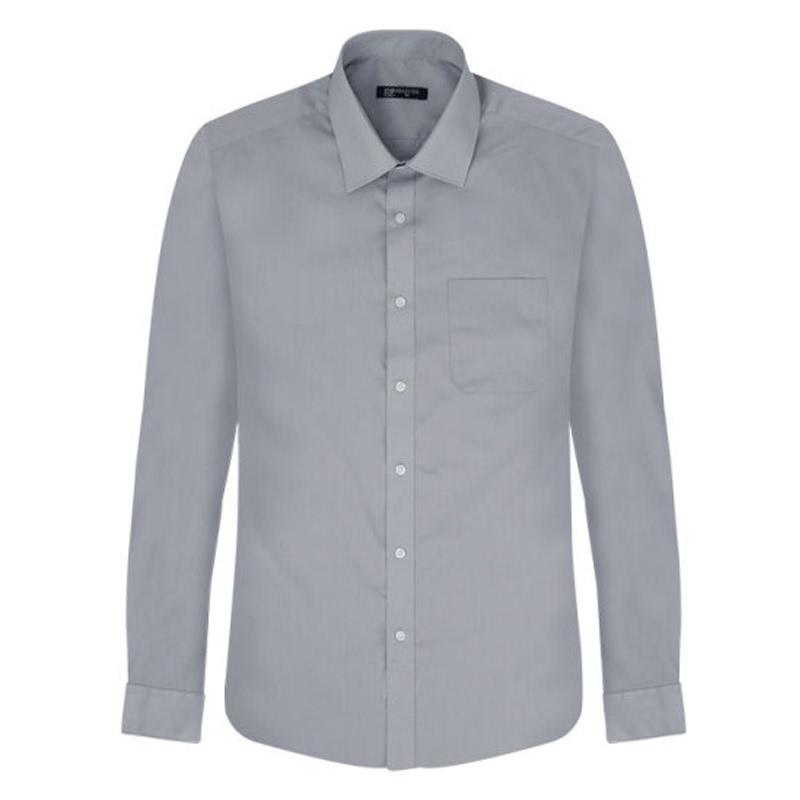 Light Gray Solid Regular Long Sleeve Shirt_DWL17-14