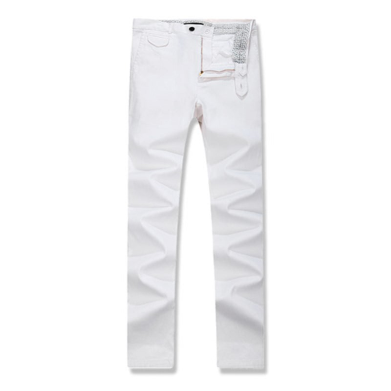 Out Pocket Cotton Span Pants - White