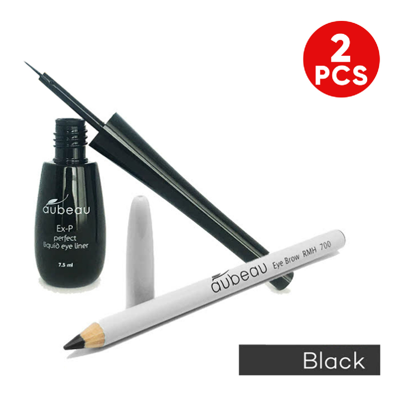 aubeau Eye Brow Pencil – Black + aubeau Ex-P Perfect Liquid Eye Liner – Black