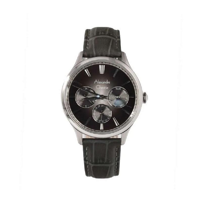 Alexandre Christie AC 6569 MFLSSBA Mens Watch Leather Strap Silver Black