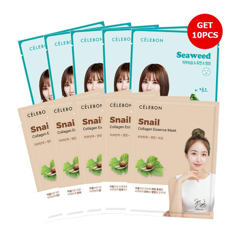Celebon Collagen Essence Mask Seaweed (5pcs) + Snail (5pcs)