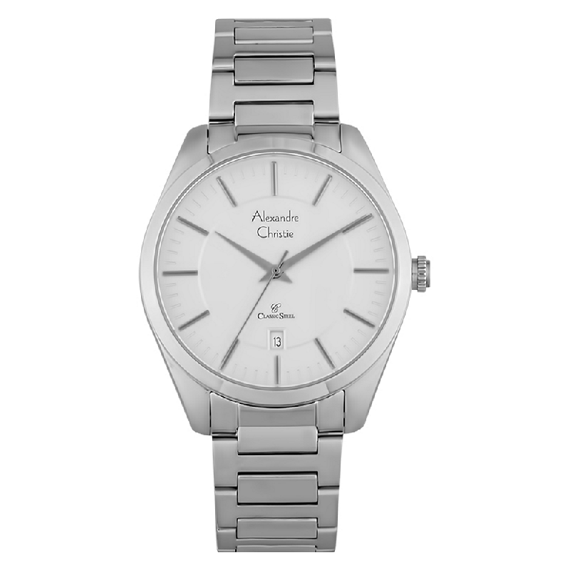 Alexandre Christie AC 8579 MD BSSSL Classic Steel Man White Dial Stainless Steel