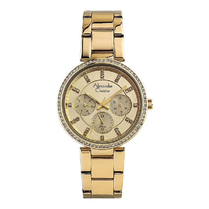 Alexandre Christie Passion AC 2874 BF BGPIV Ladies Gold Dial Gold Stainless Steel Strap