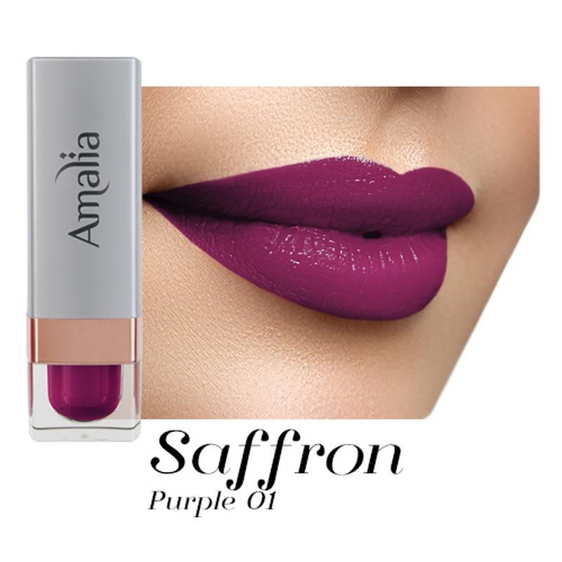 Amalia Satin Lipstick Saffron Purple 01