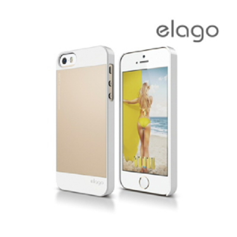 Elago Outfit Case for iPhone SE, 5, 5S - White+Champagne Gold Plate