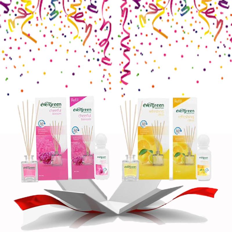 Evergreen Set Cheerful blossom & Refill Cheerful blossom 30 ml & Evergreen Set Refreshing citrus & Refill Refreshing citrus 30 ml