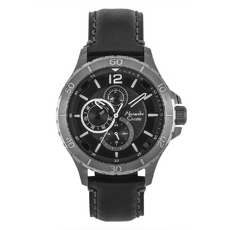 Alexandre Christie AC 6510 MFLBRBA Jam Tangan Pria Leather Strap Black