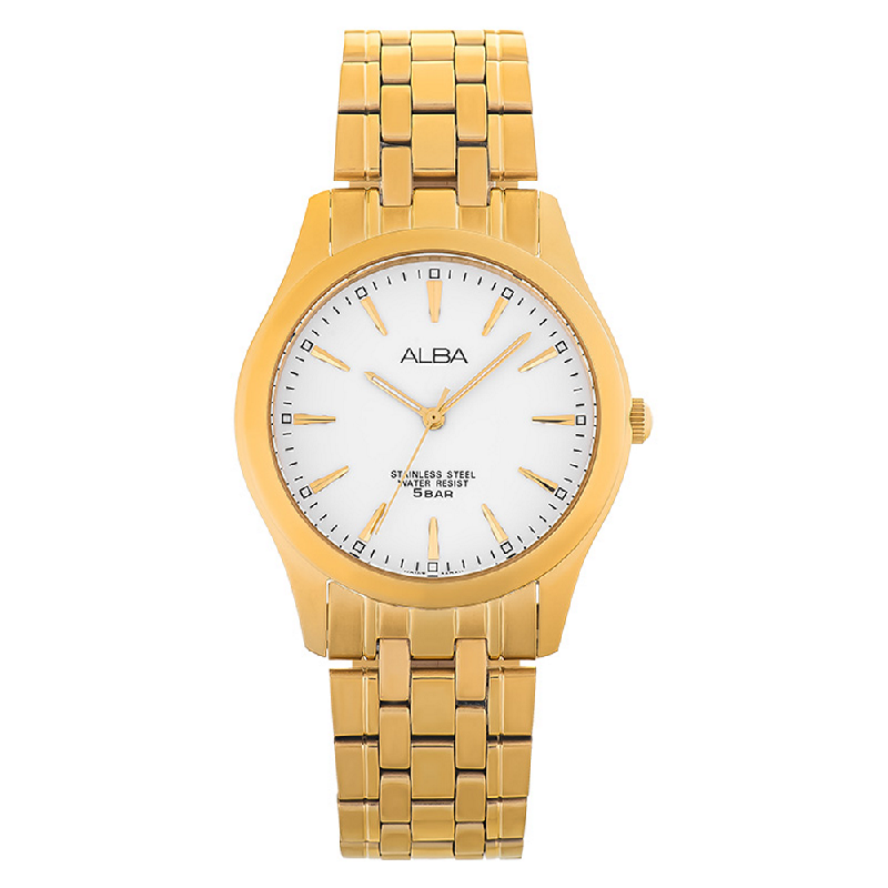 Alba ARSY08X1 White Dial Gold Stainless Steel
