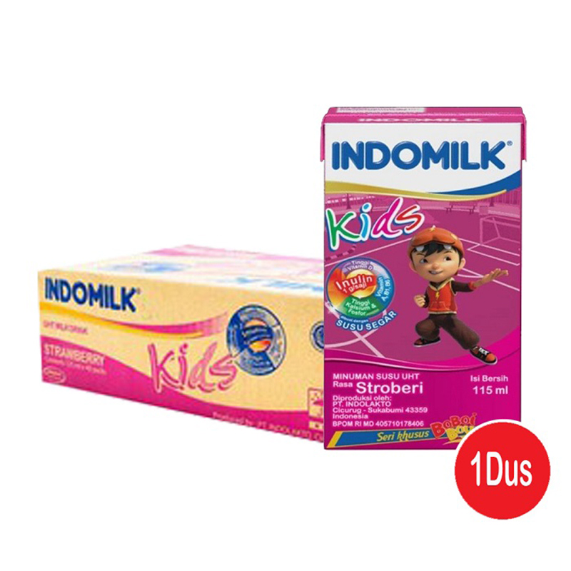 Indomilk Kids Susu UHT Rasa Stroberi 115 ml (1 Karton isi 40 pcs)
