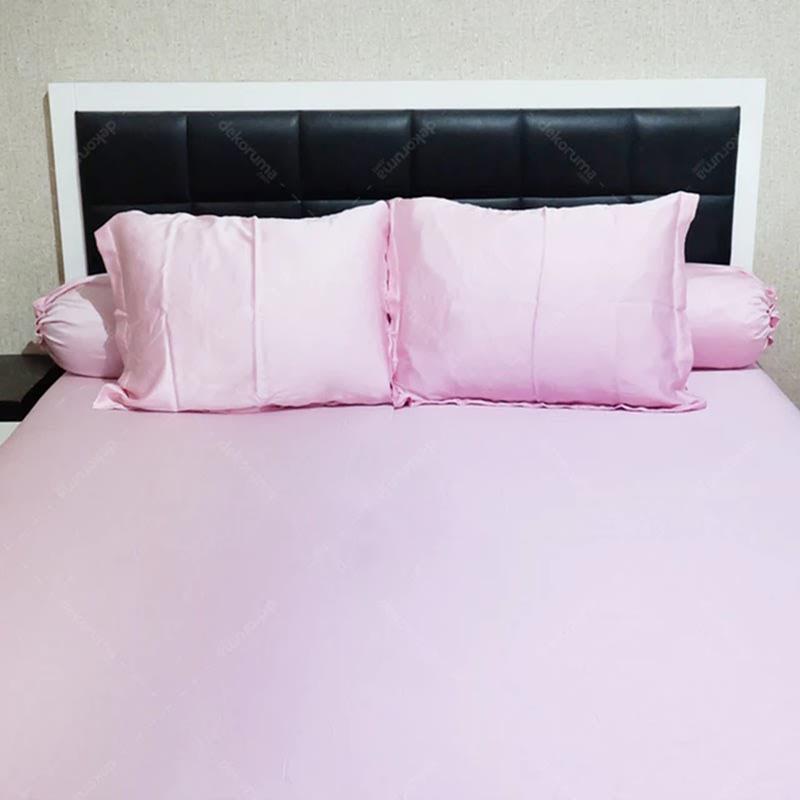 Sleep Buddy Set Sprei Plain Baby Pink Sutra Tencel 180x200x40