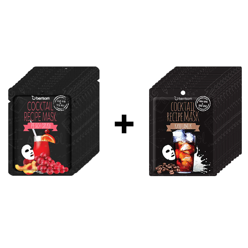 Berrisom Cocktail Recipe Mask -  Peach Crush 10Pcs + Cocktail Recipe Mask - Kahlua Milk 10Pcs