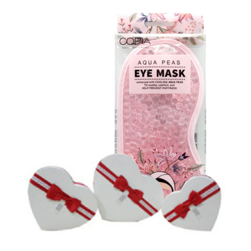 Copia Heart Shape Box Medium Red Stripes + Copia Aqua Peas Hot & Cold Eye Mask With Ultra Soft Plush Backing
