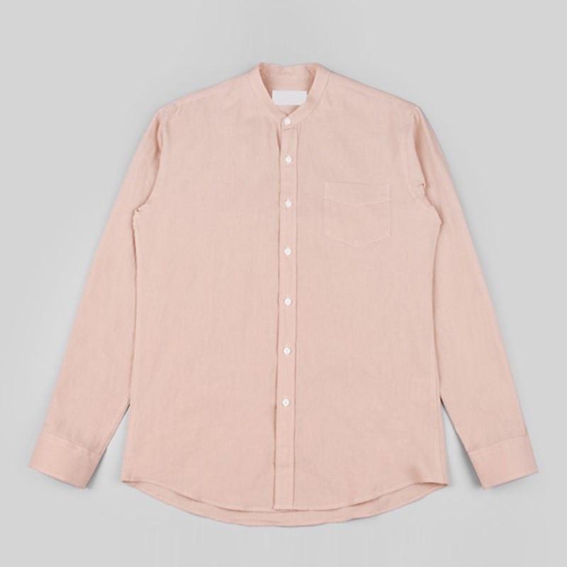 Label China Collar Shirt - PINK