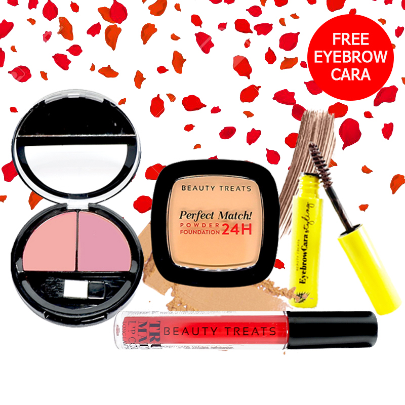 Beauty Treats Make Up Set A (Perfect Match Powder Foundation 24H No. 4 + True Matte Lip Color No. 7 + Duo Blush No. 3) FREE Eyebrowcara Dark Brown