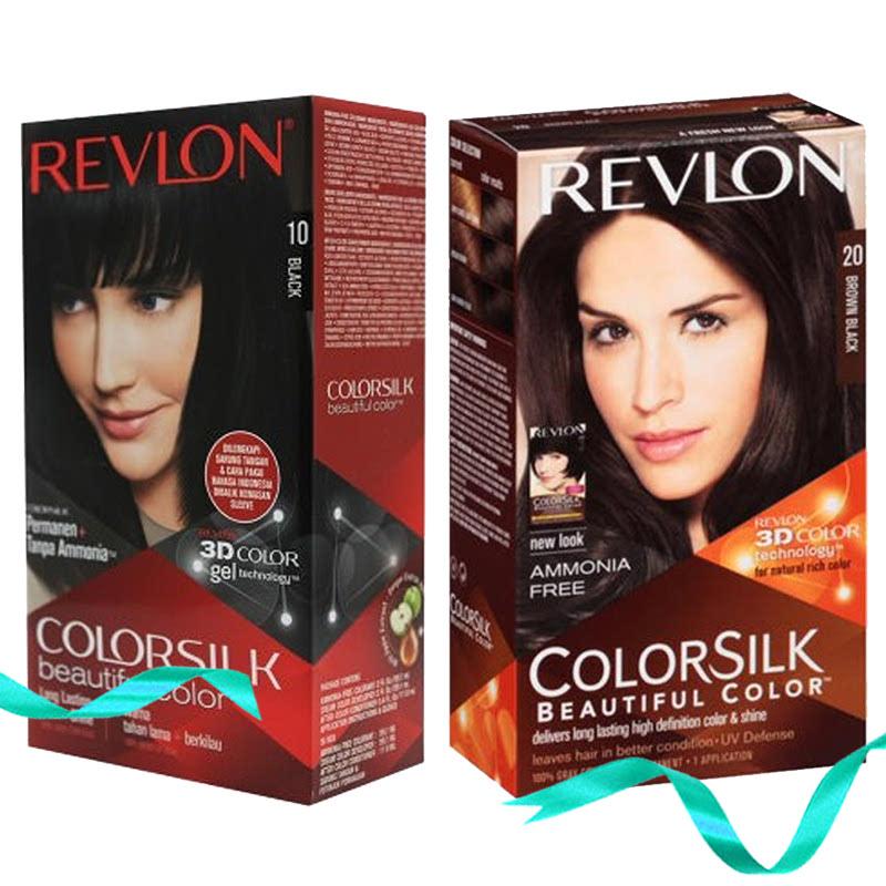 Revlon Colorsilk Hair Color 10 Black + Revlon Colorsilk Hair Color 20 Brown Black