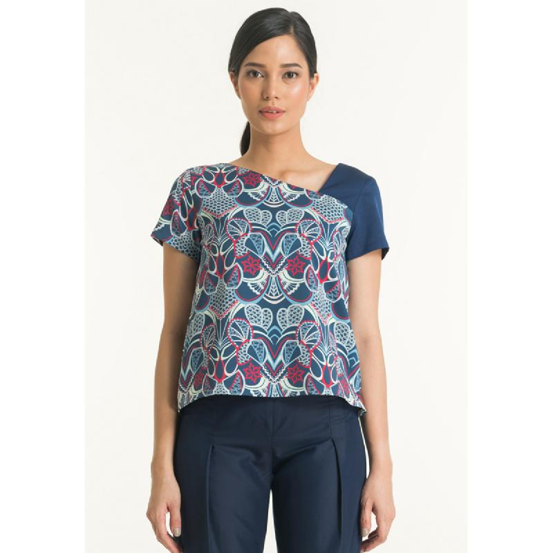 Bateeq Women Short Sleeve Cotton Print Blouse FL008C-SS18 Navy
