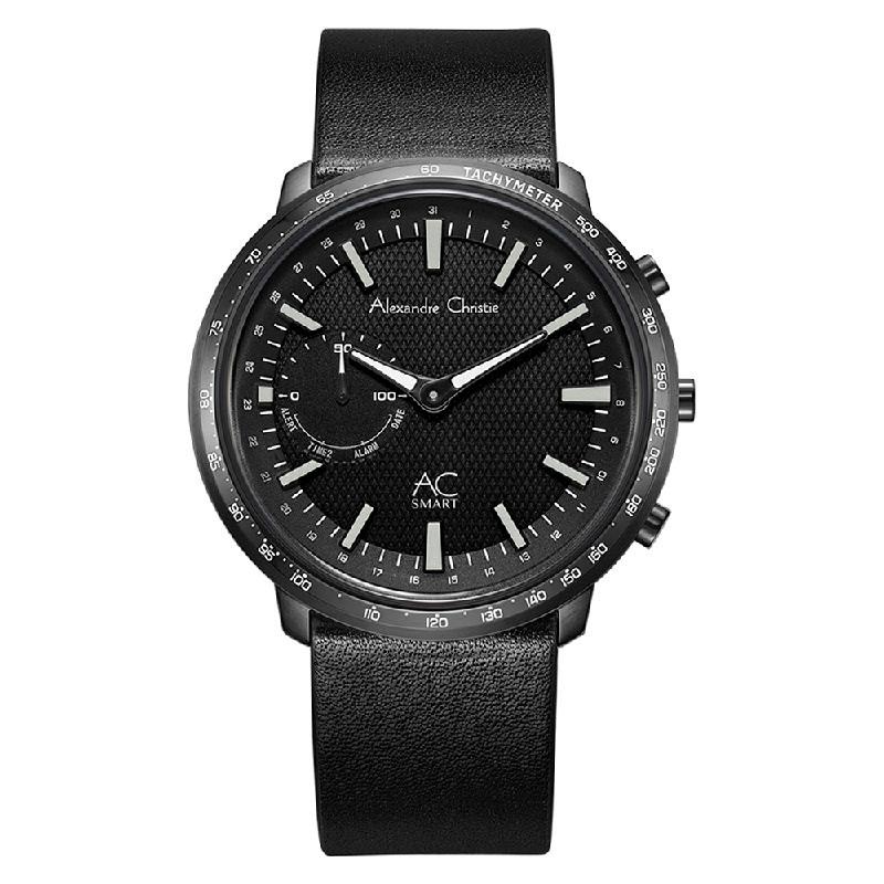 Alexandre Christie AC S001 MF LIPBA Hybrid Smartwatch Men Black Dial Black Leather Strap