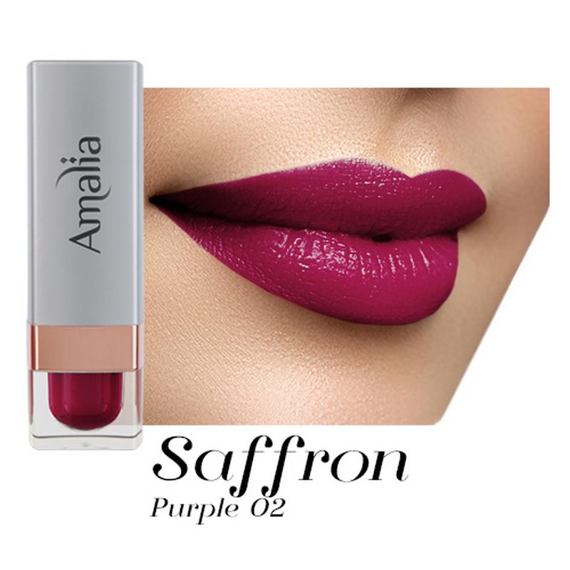 Amalia Satin Lipstick Saffron Purple 02