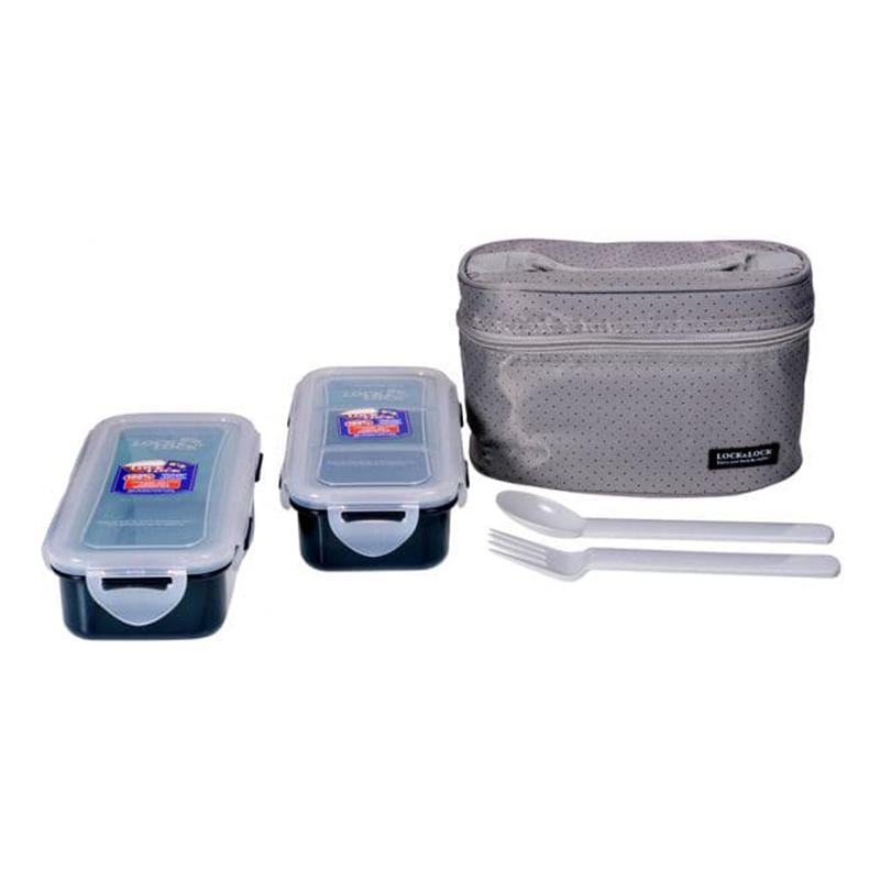 Lock & Lock HPl752Dg Lunch Box 2P Set with Gray Bag & Spoon, Fork Set