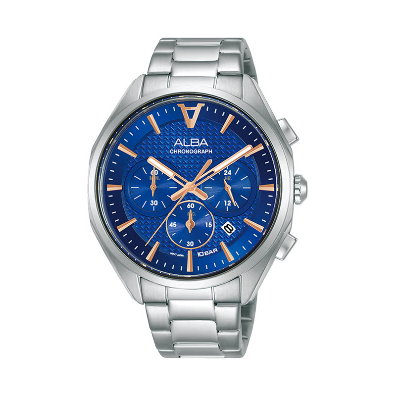 Alba AT3G81X1 Men Blue Patterned Dial Stainless Steel Strap