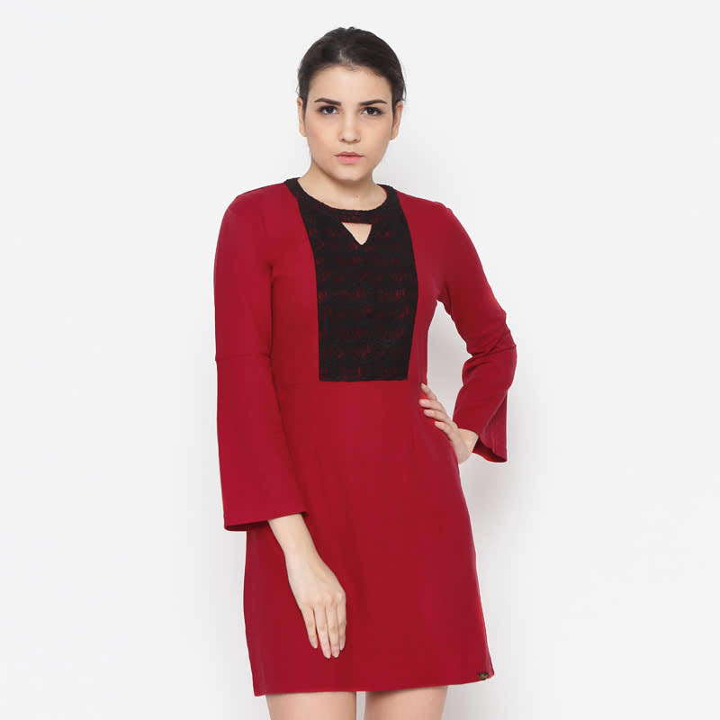 Gaff Dress Brukat Red