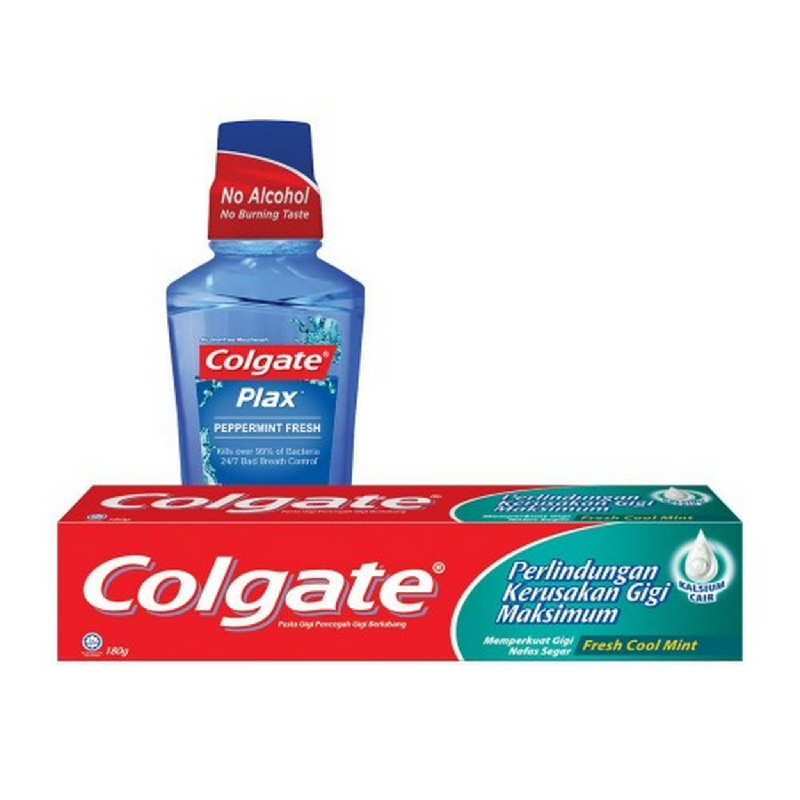 Colgate Toothpaste Fresh Cool Mint 180 g + Mouthwash Plax Peppermint 250 ml