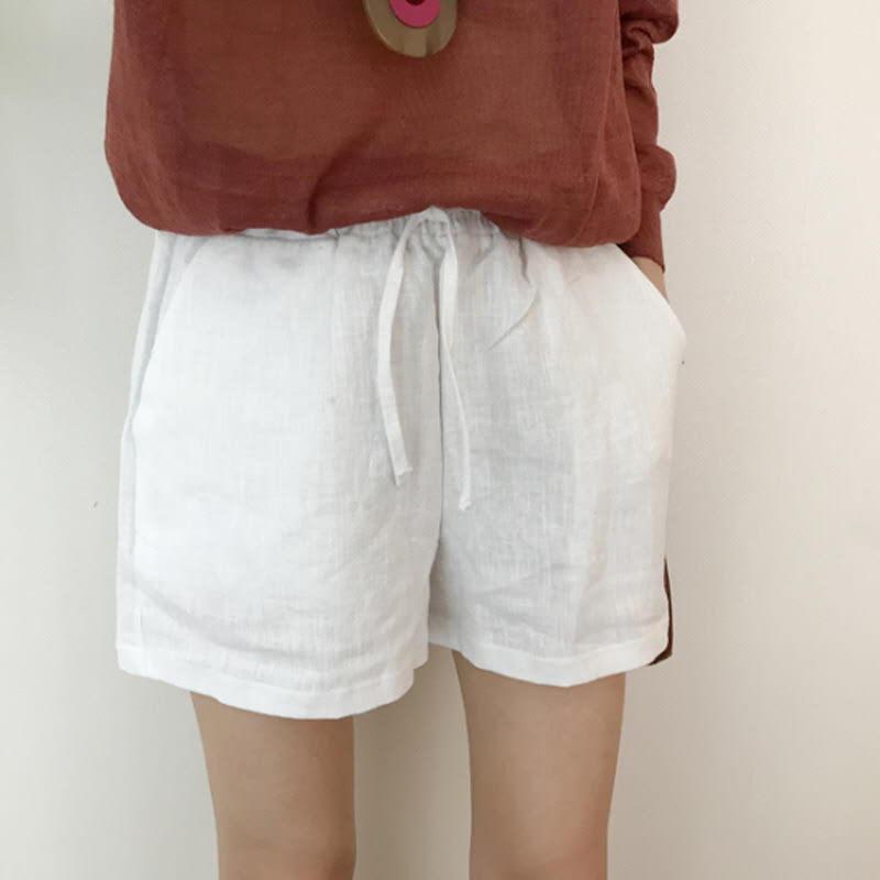 Linen String Shorts (5color) WHITE