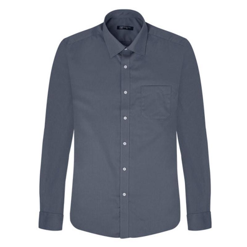 Dark Gray Solid Regular Long Sleeve Shirt_DWL17-7