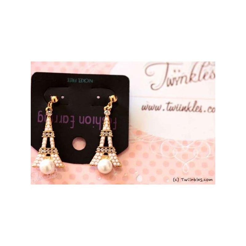 Twiinkles Eiffel Pearl Earrings