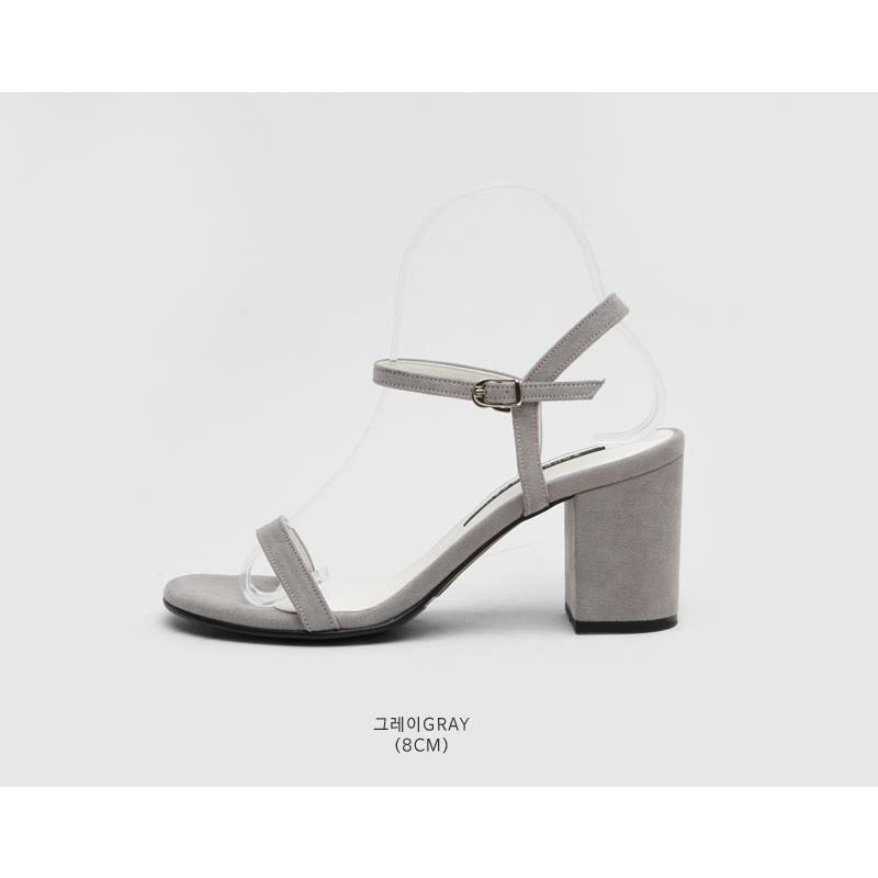 SAPPUN Belours Tonggup Suede Sandals Heel (8cm) - Gray
