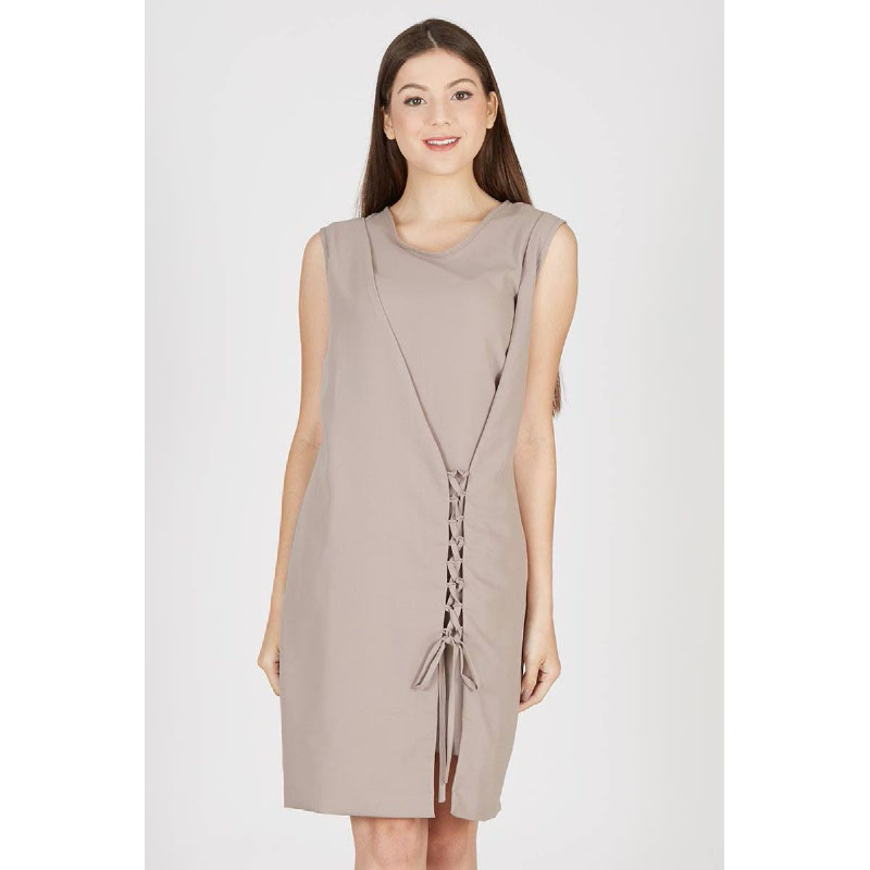 Paola Side Knot Dress Brown